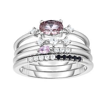 Sterling Silber stapelbar mit Zirkonia Frauen's Ring