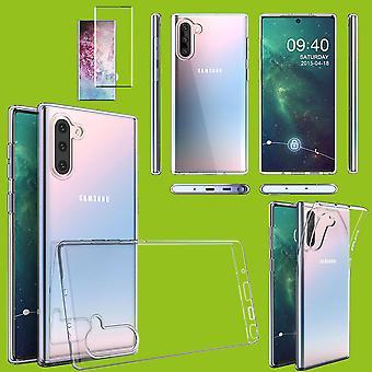 Für Samsung Galaxy Note 10 N970F Silikoncase TPU Schwarz + 0,3 4D Full Curved H9 Glas Tasche Hülle Schutz Cover