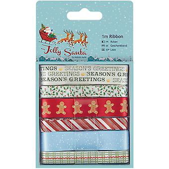 Papermania Jolly Santa lint 1m 6/Pkg-PM367917
