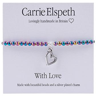 Carrie Elspeth With Love Heart Sentiment Stretch Bracelet