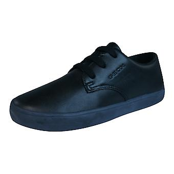 Geox J Kiwi B Boys Leather Trainers / Shoes - Black