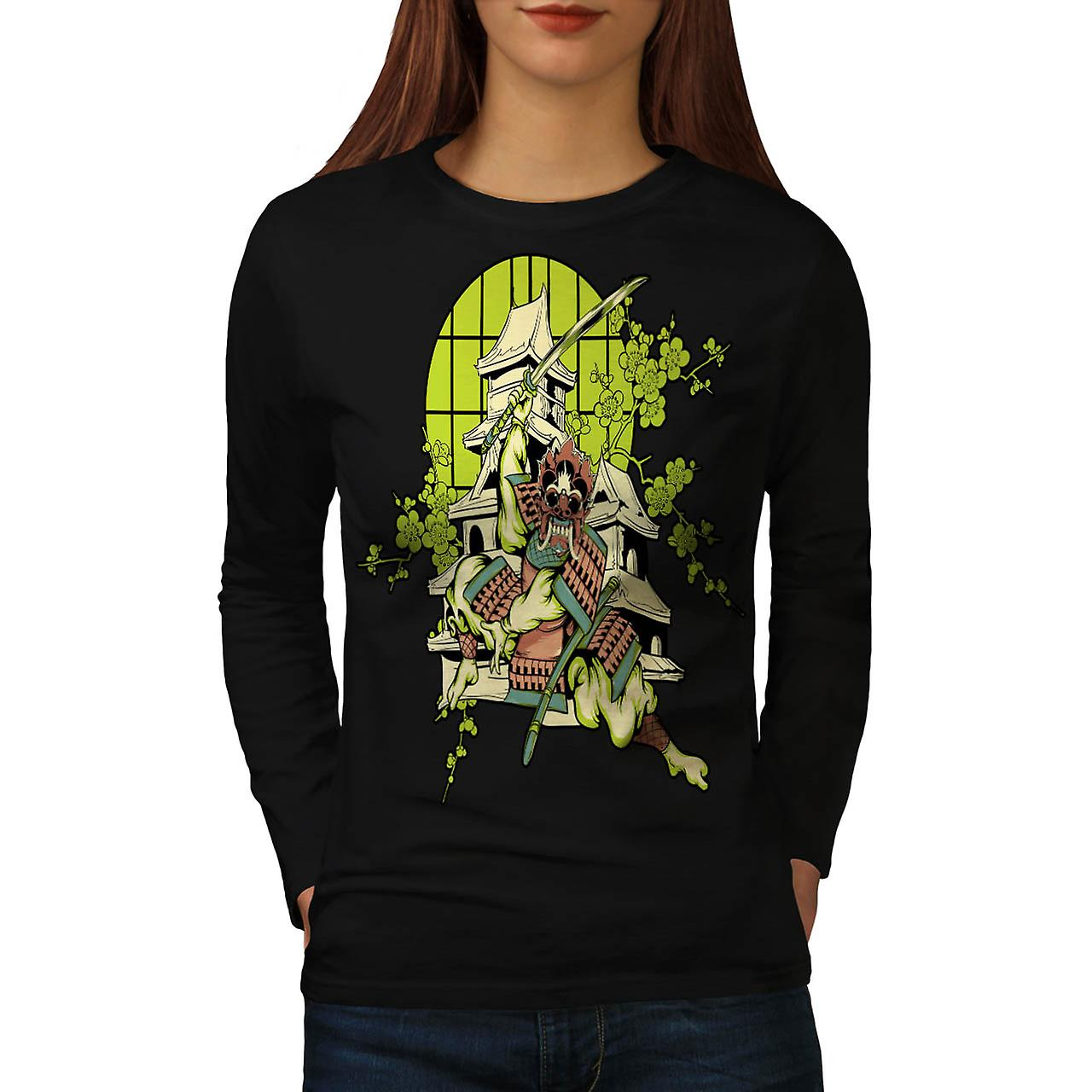 Samurai Warrior House Asian Mask Women Black Long Sleeve T-shirt | Wellcoda