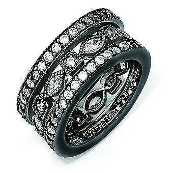 Argento placcato nero CZ eternità tre Ring Set - formato dell'anello: 6-8