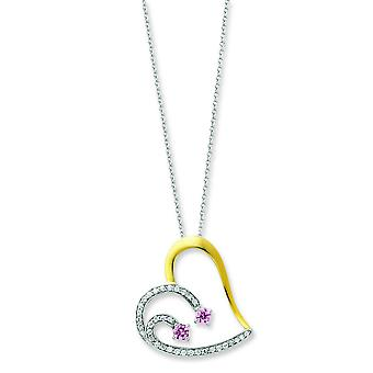 Accent gold plating Heart With Pink CZ Necklace 18 In