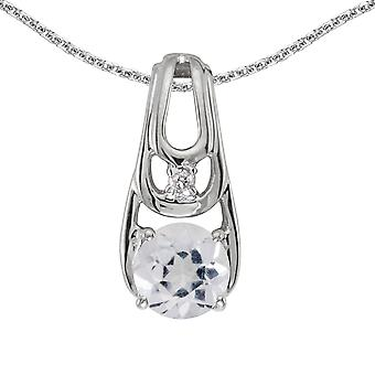 10k White Gold Round White Topaz And Diamond Pendant with 16