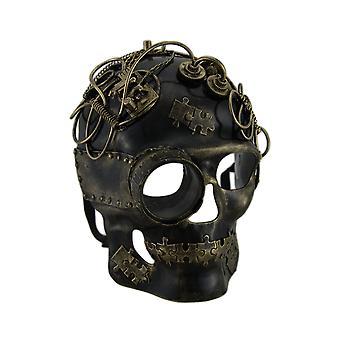 Metallic Steampunk Skull w/Monocle Mask