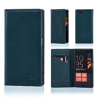 32nd Classic Real Leather Wallet for Sony Xperia X Compact - Racing Green