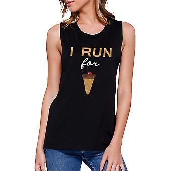 I Run For Ice Cream  Funny Graphic Design Printed Women's Crop Top
