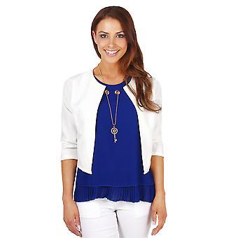 KRISP  Womens Ladies Tailored 3 4 Sleeve Wedding Party Crop Shrug Blazer Jacket Bolero