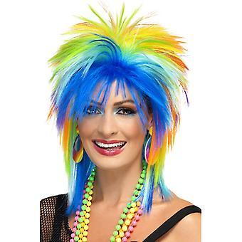 Neon wig 80's rainbow colorful punk Rainbow wig