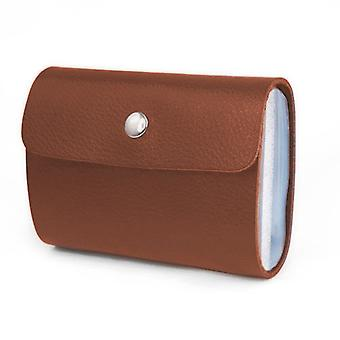 TRIXES Soft Brown Faux Leather Credit Card Holder Wallet with 26 Clear Sleeves