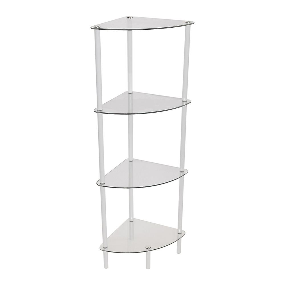 Corbin - 4 Tier Glass Corner Storage / Display Shelves - White