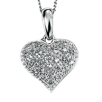 9 CT hvitt gull med Diamond hjerte halskjede