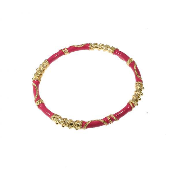 W.A.T Elaborate Gold  And Pink Enamel Bangle