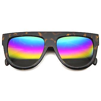 Mens Horn umrandeten Sonnenbrille mit UV400 Schutz verspiegelte Linse