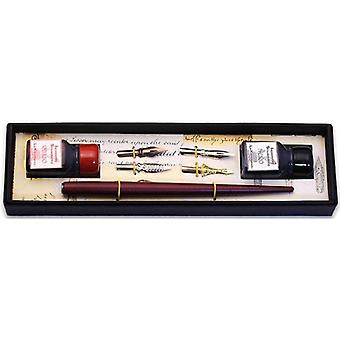 Coles Calligraphy Wood Pen with 4 Nibs and 2 Ink Bottles