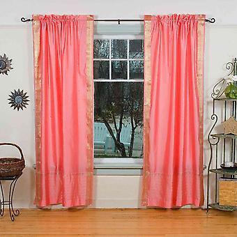Rosa Rod Pocket Sari pura cortina / cortina / Panel - par