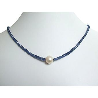 Gemstone necklace Pearl Sapphire and 9 mm Pearl Necklace gold plated