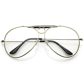 Unique Oversize Aviator Eye Glasses Detailed Double Crossbar Clear Lens 64mm