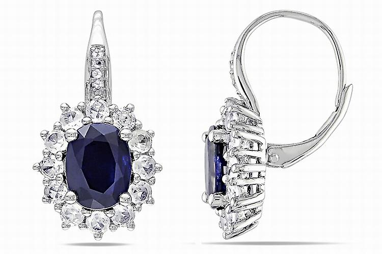 Affici Sterling Silver Drop Earrings 18ct White Gold Plated with Blue Sapphire CZ Gems