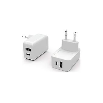 Essentials Wall Charger 1USB + 1USB-C 2, 4A + 3A, white
