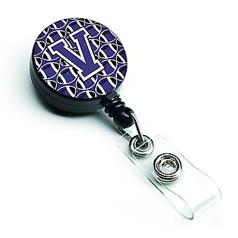 Letter V Football Purple and White Retractable Badge Reel