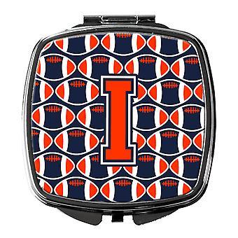 Buchstabe I Fußball Orange, blau und weiß Taschenspiegel