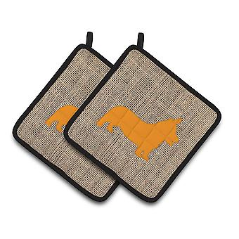Corgi Faux Burlap and Orange   Pair of Pot Holders