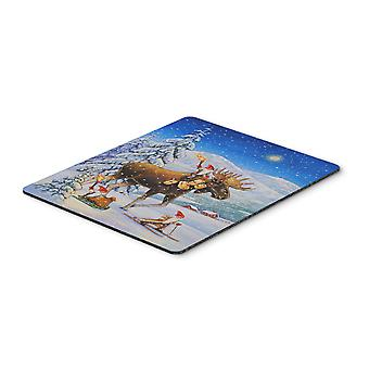 Christmas Gnome riding Reindeer Mouse Pad, Hot Pad or Trivet