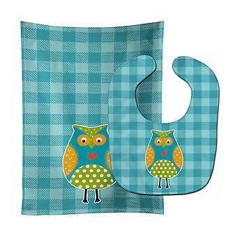 Carolines Treasures  BB6755STBU Owl on Blue Plaid Baby Bib & Burp Cloth