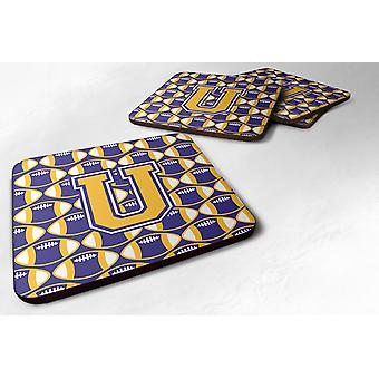 Set of 4 Letter U Football Purple and Gold Foam Coasters Set of 4