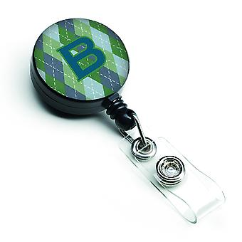 Monogram - eerste B blauwe Argoyle intrekbare Badge Reel