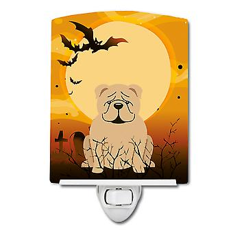 Halloween-englische Bulldogge Fawn Keramik Nachtlicht