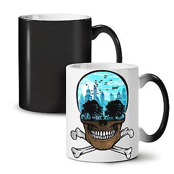 Head City Face Art Skull NEW Black Colour Changing Tea Coffee Ceramic Mug 11 oz | Wellcoda