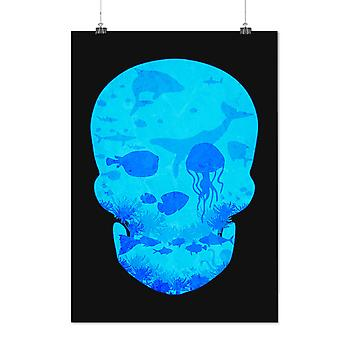 Matte or Glossy Poster with Sea Ocean Water Skull | Wellcoda | *d2362