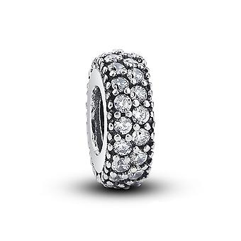 Sterling silver spacer with zirconia stones PAS066