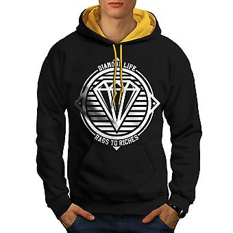 Diamond Life Club hommes noir (capot or) contraste Hoodie | Wellcoda