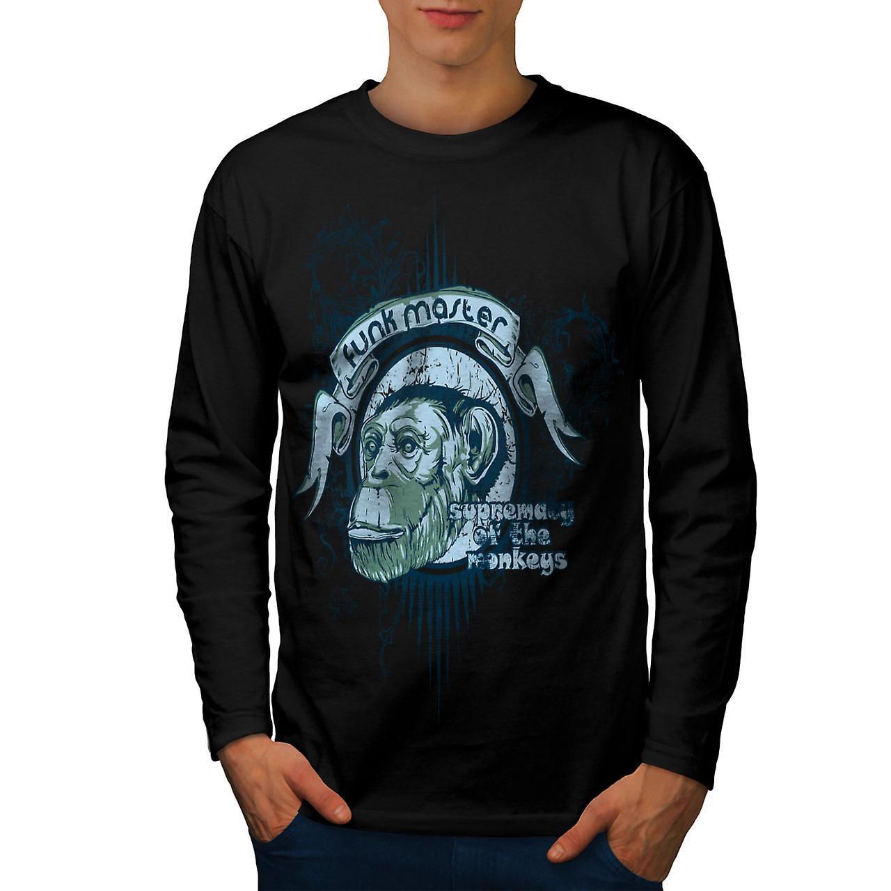 Funk Master Ape Vintage menn svart langermet t-skjorte | Wellcoda