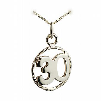 9ct Gold 17mm number 30 in twisted wire circle Pendant with a curb Chain 20 inches