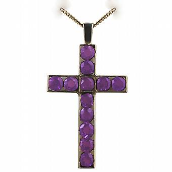 9ct Gold 45x29mm Apostle's Cross set with 12 Amethysts with a curb Chain 24 inches