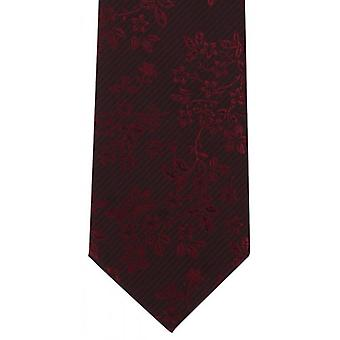 Michelsons of London Tonal Floral Polyester Tie - Red