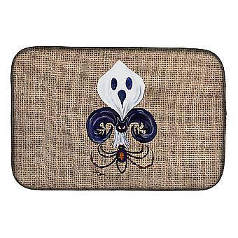 Halloween Ghost Spider Bat Fleur de lis Dish Drying Mat