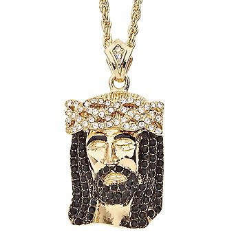 Iced Out Bling Religion Jesus Anhänger - CLOSED EYES gold