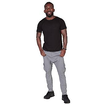Men's Carrot Fit Tapered Cargo Trousers - Grey Mens Combat Pant Fashion Trousers