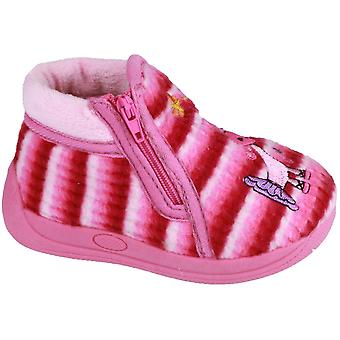 Mirak Girls Safari Padded Cartoon Detailed Bootie Slipper Pink
