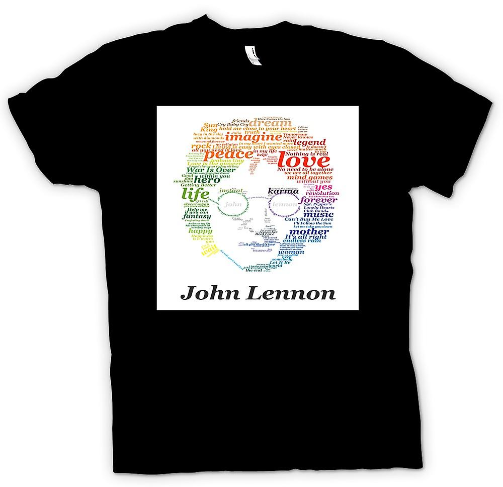 Mens T-shirt - John Lennon Lyrics On Face