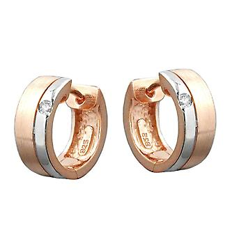 Creole red gold plated cubic zirconia, silver Silver 925 Creole hoop earrings 925 Silver gold plated