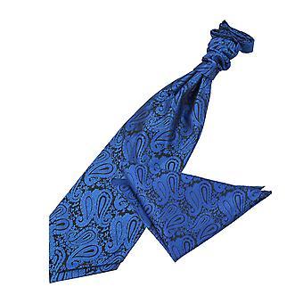 Royal Blue Paisley Wedding Cravat & Pocket Square Set