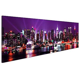 Artgeist Canvas Print Purple Sky Over New York (Decoration , Pictures and frames)