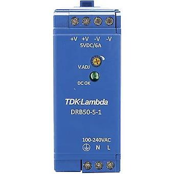 Rail mounted PSU (DIN) TDK-Lambda DRB-50-5-1 5 Vdc 2.5 A 30 W 1 x